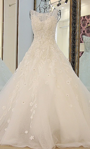 love hot sale O-neck A-line Wedding Dress in 2018